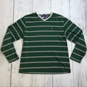 Vintage Tommy Hilfiger striped v neck shirt